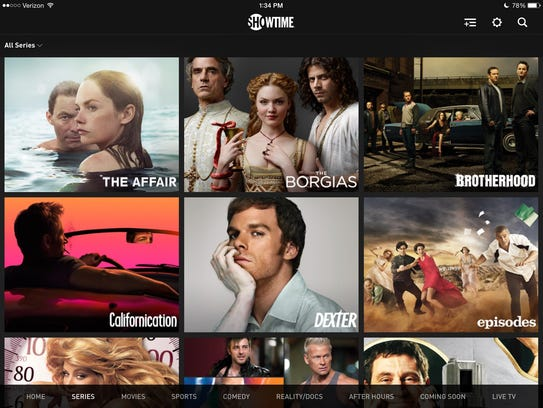 A screenshot of the Showtime standalone service showing