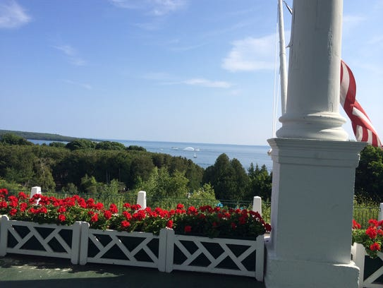The Grand Hotel's front porch on Mackinac Island.