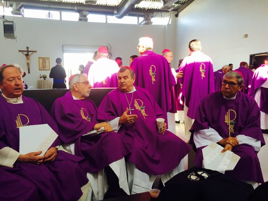 Bishops gather at the site of the papal mass in Juarez