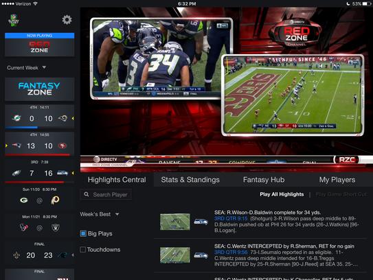 A screen shot of DirecTV NFL Sunday Ticket's NFLST.tv