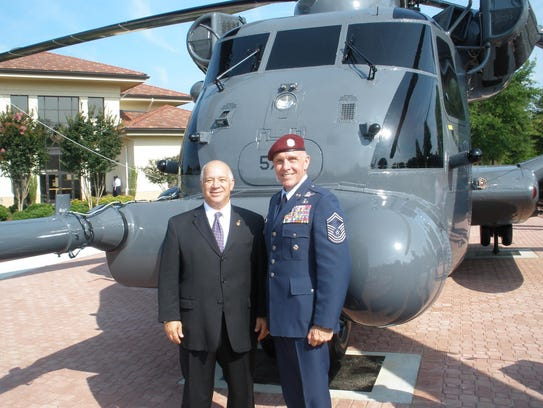 Chief Master Sgt . Wayne Fisk and retired Col. Joe