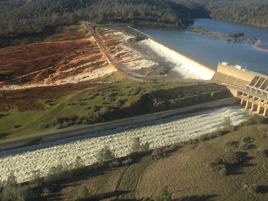 An aerial view of the damaged Oroville spillway in