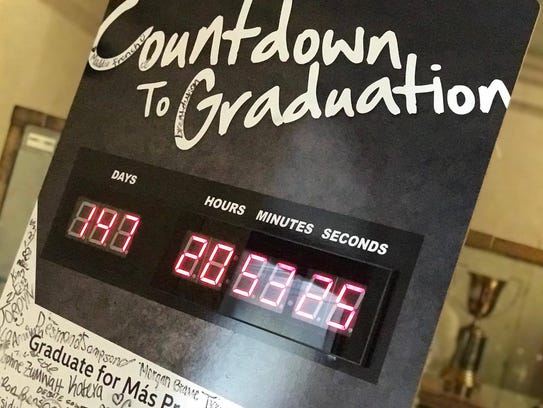 A sign at Bolton High School counts down to graduation