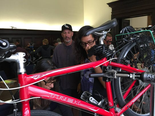 Participants learn bike skills at Ventura City Hall.