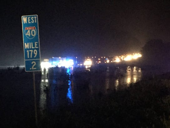 Interstate 40 in Dickson County was closed eastbound