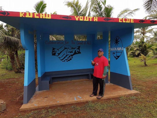 The Kuchu Association's Youth Club painted a bus stop