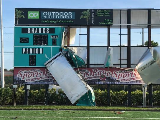 The scoreboard at Gulf Coast High School's football