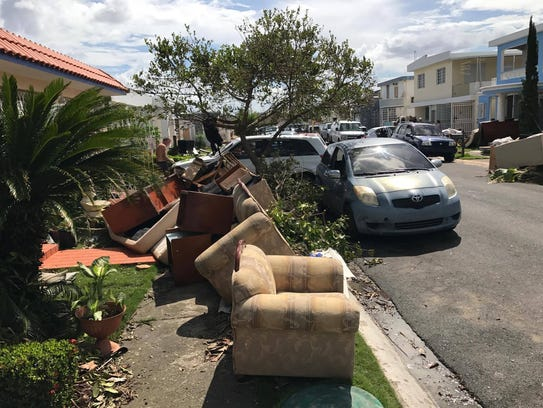 A sidewalk in Levittown, Puerto Rico after Hurricane