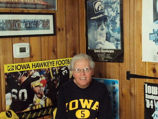 Bob Morrow has a room full of Iowa memorabilia in his