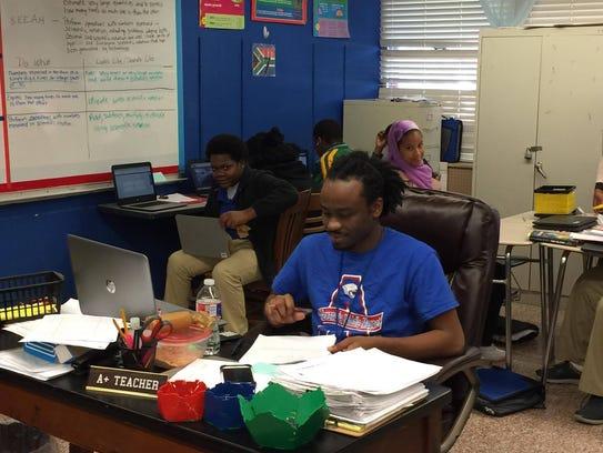 Robert Hall teachers math at Alexandria Middle Magnet