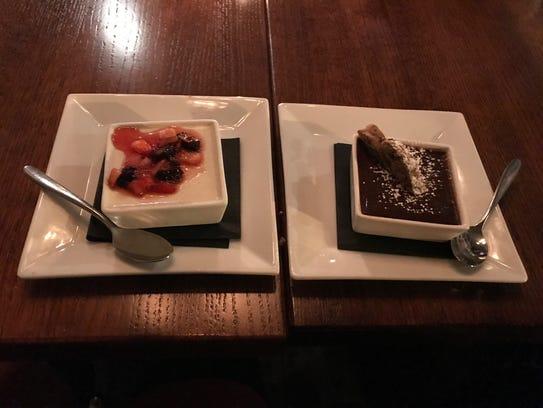"A decadent dark chocolate ""pot de crème"" blended with"
