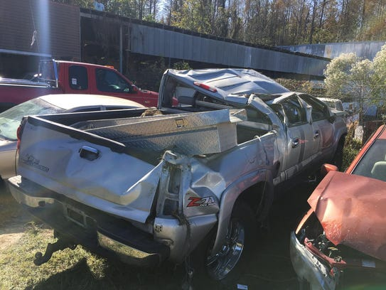 A photo of Travis Anderson's truck following an accident