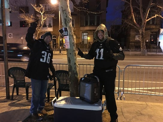 These fans got a spot along the Philadelphia Eagles