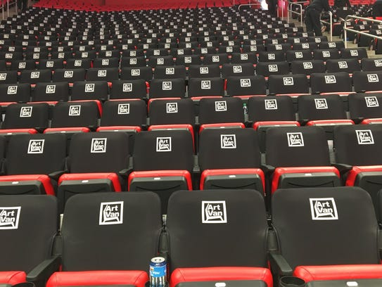 The new seat covers for Detroit Pistons games at Little