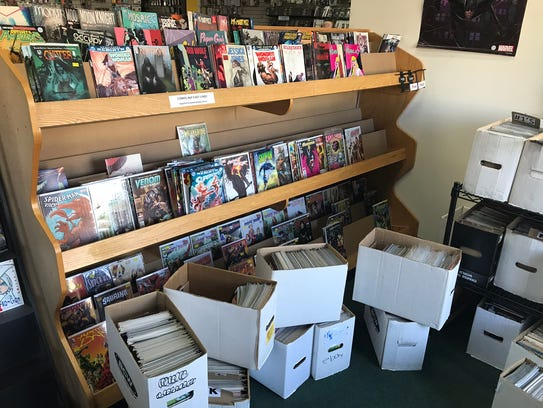 A comic book display at Dragon's Den in Wappinger.