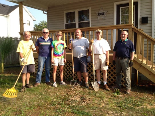 Rotarians Steve Miller, Tom Bryan, Amy Hasseman, Tim