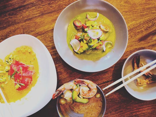A trio of ceviche offerings from Las Palmas Cantina