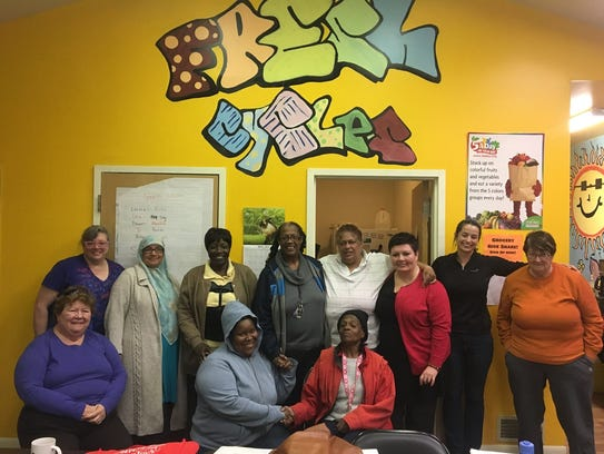 Members of the Food Bank of the Southern Tier's Speakers Bureau at a training session along with Toastmasters Judy Salton and MaryRose Griffin.