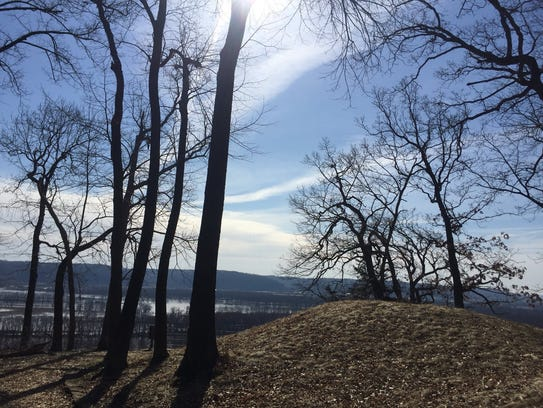 A burial mound is shown at Effigy Mounds National Monument