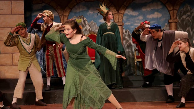 Princess Winnifred the Woebegone (Madelyn Morris, at center) is surrounded by, from left, Elias Stroock (Knight) Max Rubenstein-Miller (Prince Dauntless the Drab), Corinne Ford (Queen Aggravain), Zachary O'Neill (King), Eoin Kelly (Knight) and Soren Carlson (Knight).