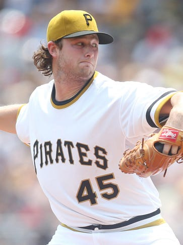 Pittsburgh Pirates starting pitcher Gerrit Cole delivers