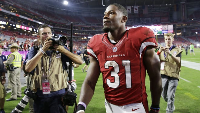 Cardinals running back David Johnson scored three touchdowns against the Jets on Monday Night Football Oct. 17, 2016 in Glendale, AZ.