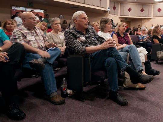 The public awaits the news on whether Las Cruces Public School Superintended Stan Rounds will resign, June 14, 2016.