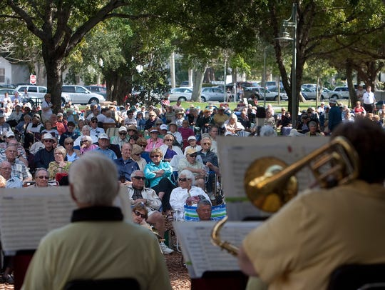 The Gulf Coast Big Band plays for hundreds of spectators