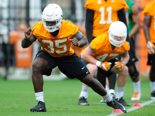 Tennessee's Daniel Bituli (35) does a drill during
