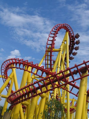 A 2008 photo of the Thunderhawk roller coaster at Michigan's Adventure in Muskegon, Mich.