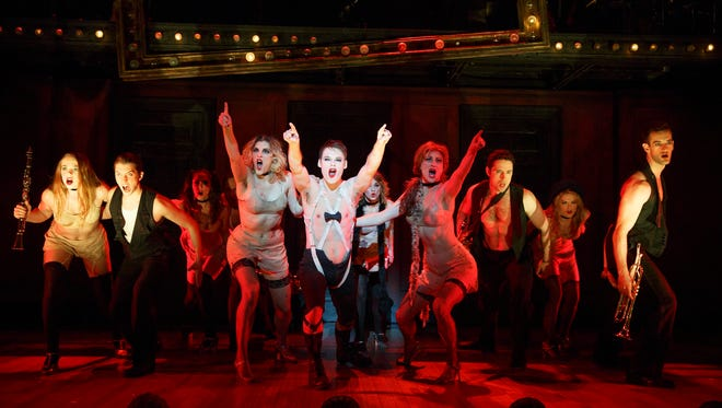 "Randy Harrison as the Emcee and the 2016 national touring cast of Roundabout Theatre Company's ""Cabaret."""