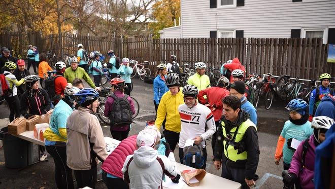 Cyclists gather for the Turkey Ride on Sunday, Nov. 20, 2016.
