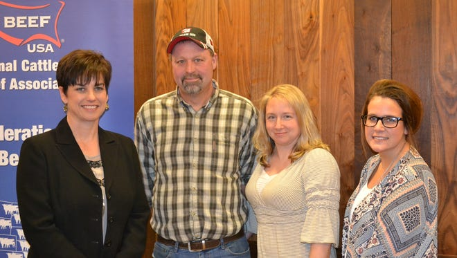 Dawn Caldwell (left) Nebraska beef producer and Chair of the Federation of State Beef Councils joins Wisconsin members (from left) beef producer James Rychtik and Teri Mejchar, Belgium, WI, and Jayde Farbo, Wisconsin Beef Council communications coordinator and director of on-line marketing.