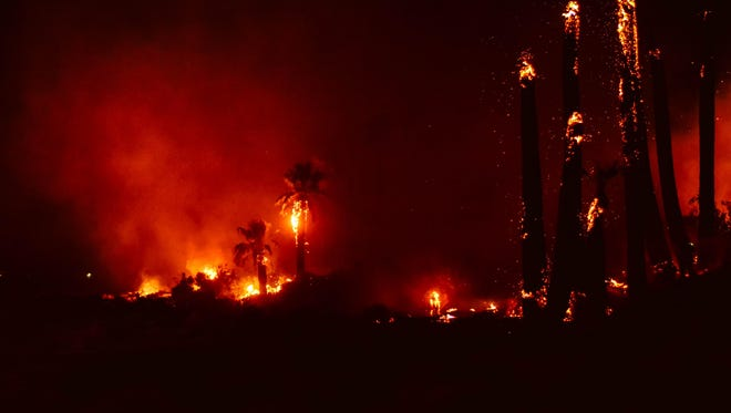 This Monday, March 26, 2018 photo provided by Steve Raines shows a fire that broke out at Joshua Tree National Park, damaging a historical landmark. The National Park Service says the fire that broke out late Monday damaged the Oasis of Mara, a site settled by Native Americans who planted the 29 palm trees that inspired the name of the city of Twentynine Palms.  (Steve Raines Photography via AP)