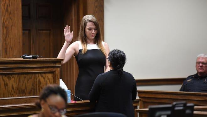 Kala Brown testifies in court on Wednesday, July 11, 2018.