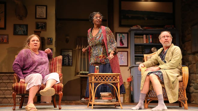 """Suzanne Warmanen as Sonia, Isabell Monk O'Connor as Cassandra and Charles Janasz as Vanya in the Arizona Theatre Company production of """"Vanya and Sonia and Masha and Spike."""""""