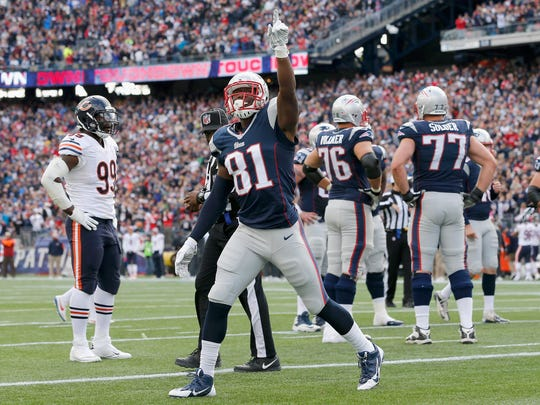 Wall native Tim Wright (81) of the New England Patriots reacts after catching a touchdown pass during the second quarter against the Chicago Bears at Gillette Stadium on October 26, 2014 in Foxboro, Mass.