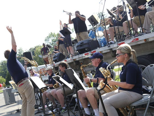 The Kroc Center Big Band plays during the Taste of Mansfield at North Lake Park on Saturday night.