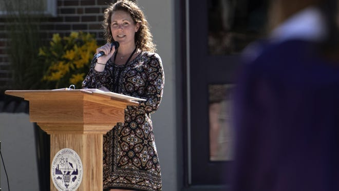 Shawsheen principal Jessica Cook addresses the graduates during graduation ceremonies at Shawsheen Valley Technical High School, June 17, 2020.
