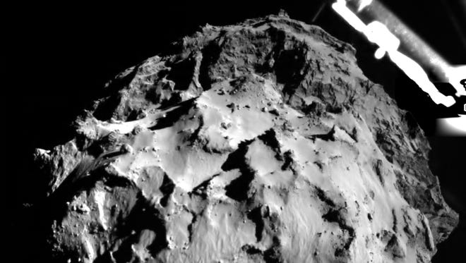 Photo shows the comet 67P/Churyumov-Gerasimenko during the Philae spacecraft's descent to the surface on Nov. 12, 2014.