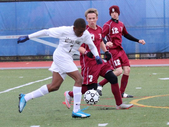 Notre Dame's Rocco Coulibaly controls the ball as Greenville's