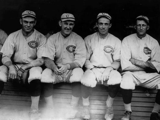 """Horace """"Hod"""" Eller, left was part of a Reds' pitching staff that gave up 133 fewer runs than the White Sox in the regular season. Here are four of the Reds' five-man rotation, left to right: Hod Eller, Jimmy Ring, Dutch Ruether and Slim Sallee."""
