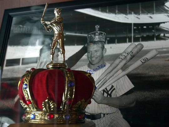 Mickey Mantle's triple crown trophy at The Stadium