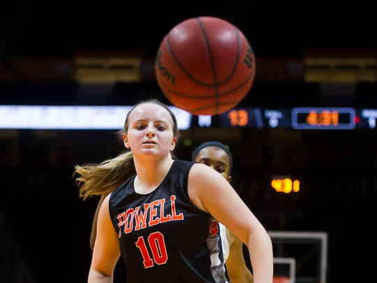 Powell's Chloe Ellison watches as the ball goes out of bounds during the 2017 Knox County Schools Tennova Tip-Off classic in Thompson-Boling Arena Wednesday, Nov. 8, 2017.