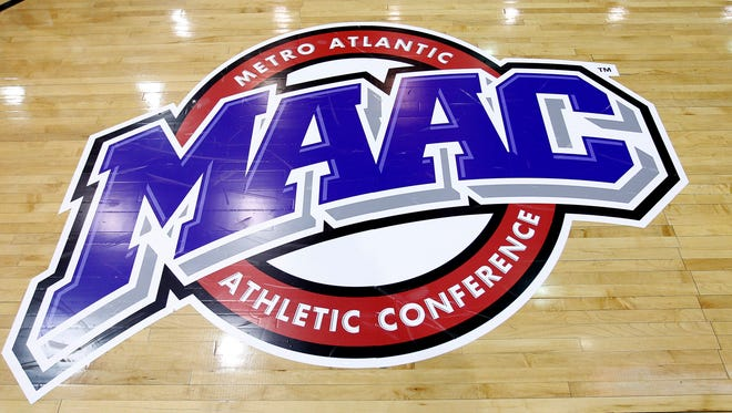Mar 11, 2013; Springfield, MA, USA; A general view of the MAAC logo prior to the championship game of the Metro Atlantic Conference tournament between the Iona Gaels and the Manhattan Jaspers at MassMutual Center. Mandatory Credit: Mark L. Baer-USA TODAY Sports