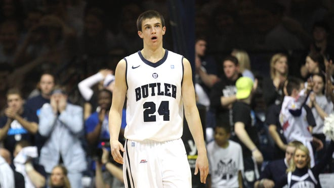 Butler's Kellen Dunham after hitting one of five three point baskets in the first half  against Seton Hall Saturday March 8, 2014 at Hinkle Fieldhouse.