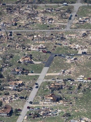 An aerial view of tornado damage in Joplin on Tuesday, May 24, 2011.  Valerie Mosley / News-Leader