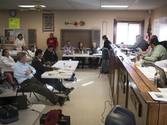 Backers of a resort project that would install a gondola ride into the Grand Canyon answer questions during a Navajo tribal Resources and Development Committee meeting in January at the Bodaway/Gap Chapter house.