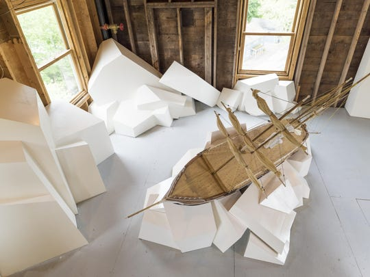 """David Grainer's """"Endurance Awaits,"""" on view in """"Appetite for Destruction"""" at the Wassaic Project's Maxon Mills."""