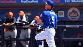 Brandon Nimmo homers Monday afternoon.